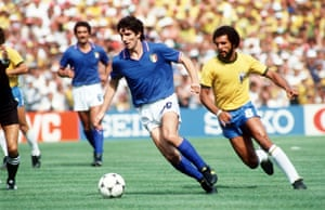 Paolo Rossi gets away from Brazil's Junior in the classic match versus Brazil at the '82 World Cup.