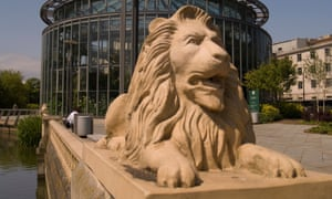 A lion statue in Sunderland Winter Gardens.