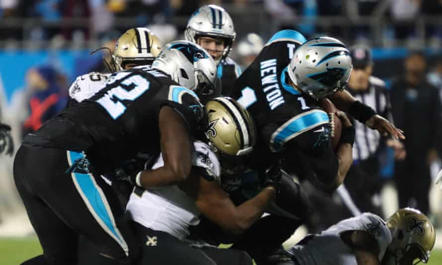 Cam Newton was rarely given time to make plays on Monday night