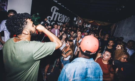 Justice Medina, who is an aspiring rapper, performs in Fresno, California.