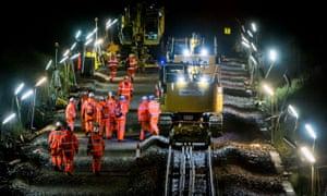 Network Rail electrification project near Keynsham, Somerset, Britain