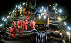 A Network Rail electrification project near Keynsham, Somerset.