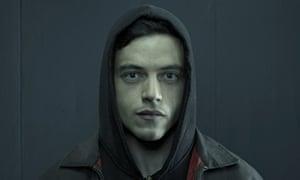 Rami Malek as substance-fan Elliot Alderson in Mr Robot.