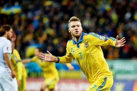 Andriy Yarmolenko celebrates after scoring the first goal during the play-off against Slovenia at Lviv Arena on November 14, 2015