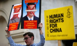 A protesters decried China's human rights record during president Xi Jinping's visit to London in October 2015.