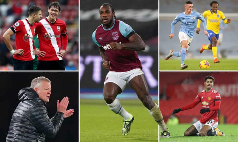 Clockwise from top left: Southampton defenders Jan Bednarek and Jannik Vestergaard, Michail Antonio, Manchester City's Phil Foden, Sheffield United manager Chris Wilder and Marcus Rashford.