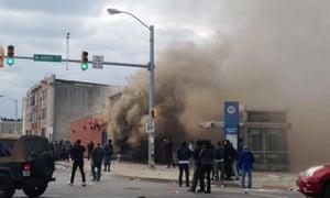 Smoke billows from pharmacy
