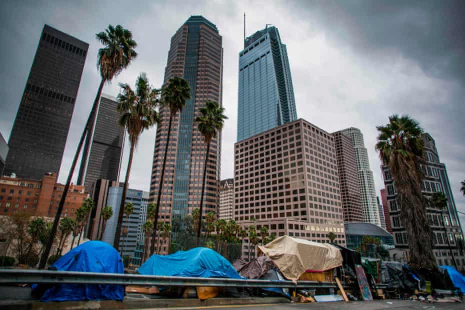 Homeless tents line the street in downtown Los Angeles.