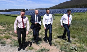 (L-R) Chris Bowen, Bill Shorten, Andrew Leigh and shadow Mark Butler visit the Mount Majura solar farm in Canberra.