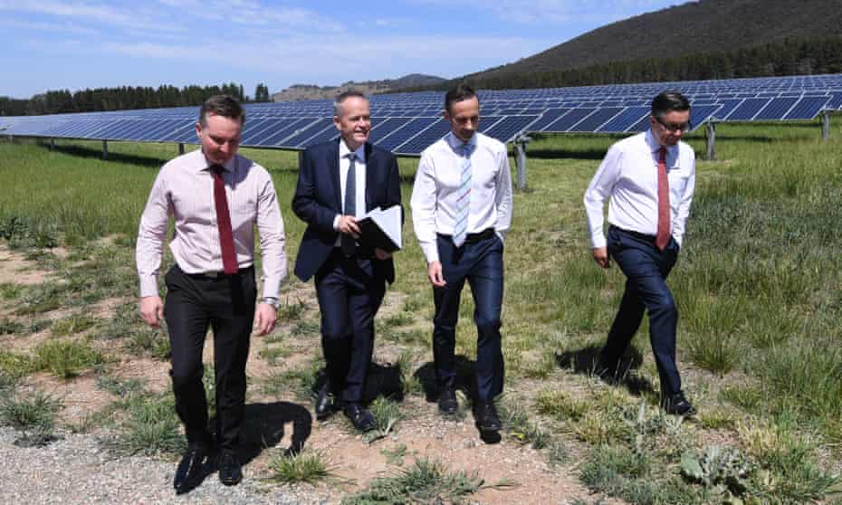 (L-R) Chris Bowen, Bill Shorten, Andrew Leigh and shadow Mark Butler visit the Mount Majura solar farm in Canberra.