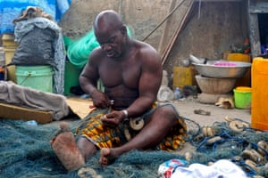 Qunachi Seth, 54, is a fisherman who relies on child labour to support his livelihood in Jamestown district of Accra,