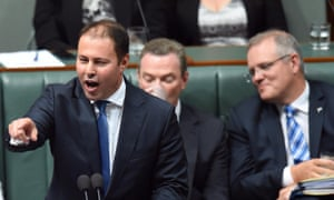 Assistant Treasurer Josh Frydenberg, from left, with education minister Christopher Pyne and social services minister Scott Morrison.