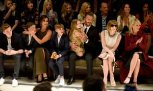 "Brooklyn Beckham, Cruz Beckham, Victoria Beckham, Romeo Beckham, Harper Beckham, David Beckham, editor-in-chief of American Vogue Anna Wintour and Julia Gorden attend the Burberry ""London in Los Angeles"" event at Griffith Observatory on April 16, 2015 in Los Angeles."