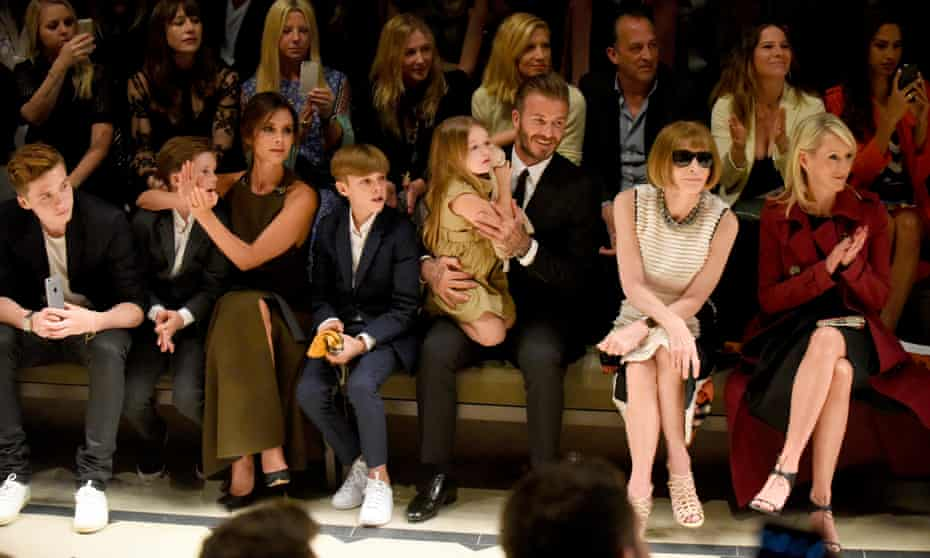 """Brooklyn Beckham, Cruz Beckham, Victoria Beckham, Romeo Beckham, Harper Beckham, David Beckham, editor-in-chief of American Vogue Anna Wintour and Julia Gorden attend the Burberry """"London in Los Angeles"""" event at Griffith Observatory on April 16, 2015 in Los Angeles."""