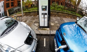 The Nissan Leaf (L) and Kia Soul on charge on a London street