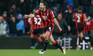 Harry Arter celebrates the goal by Nathan Aké that gave Bournemouth a remarkable 4-3 win over Liverpool last Sunday.