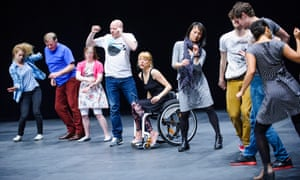 A scene from The Show Must Go On by Jerome Bel, performed by Candoco at Sadler's Wells.