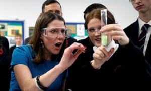 Jo Swinson in the Lab. Science teacher: 'This is Boris Johnson's paternity test'.