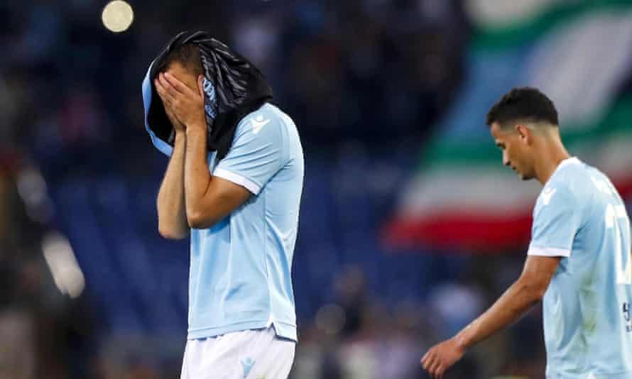 Lazio's Stefan de Vrij, left, shows his dejection after the Serie A defeat to Inter.