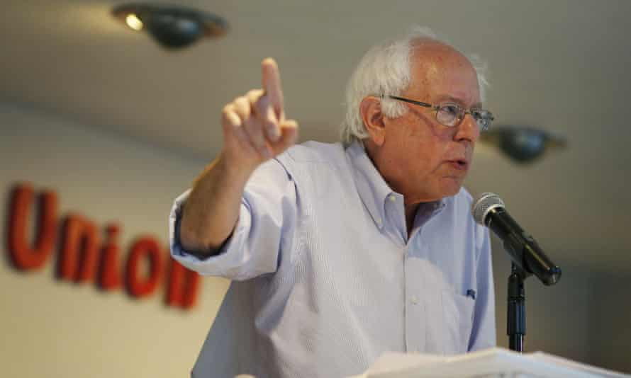 Senator Bernie Sanders speaks during a town hall meeting at the Culinary Workers Union in March.