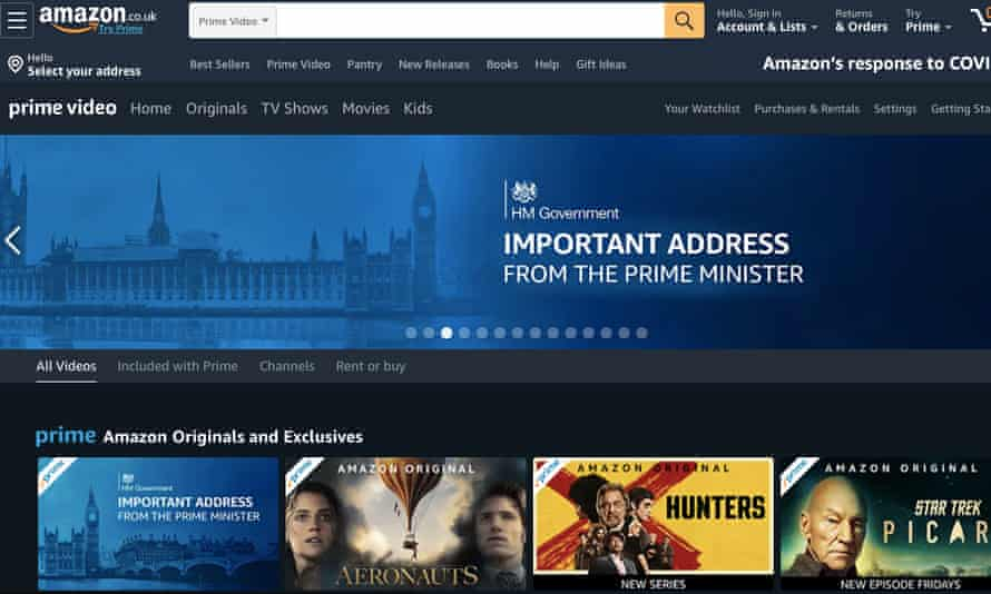 Amazon Prime video's homepage on 24 March.