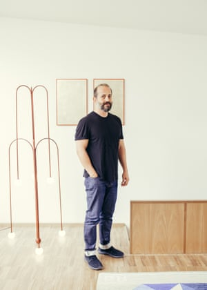 Michael Anastassiades with his water-inspired 'Crossette' design for Nilufar Gallery