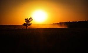 sun rises over a drought stricken paddock in Gunnedah