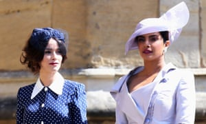 Polka dots are the new leopard print: Abigail Spencer and Priyanka Chopra at the wedding on Saturday.