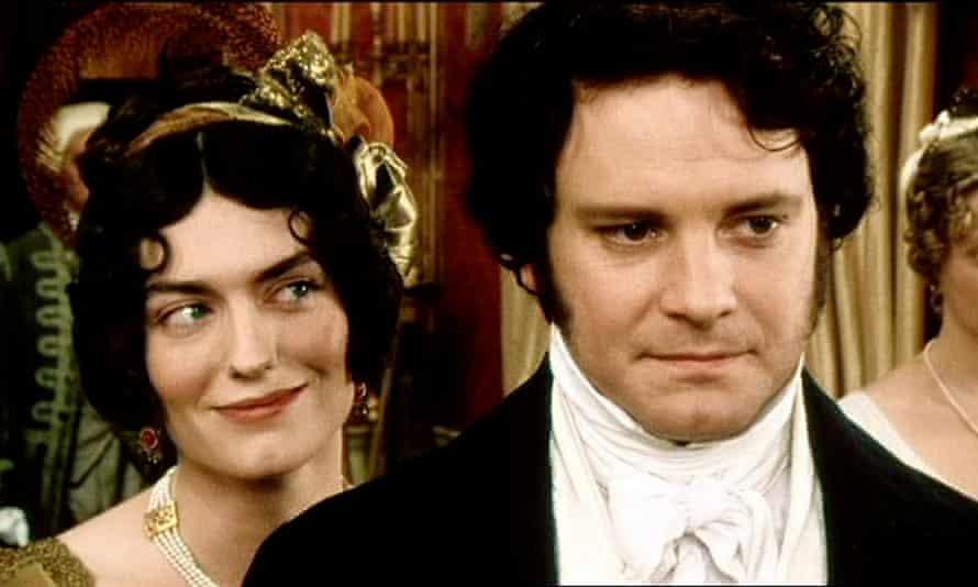 Anna Chancellor as Caroline Bingley and Colin Firth as Mr Darcy in Pride and Prejudice