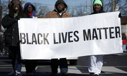 Washington DC Commemorates Martin Luther King DayWASHINGTON, DC - JANUARY 18: Members of Black Lives Matter DMV participate in the annual Martin Luther King Holiday Peace Walk and Parade January 18, 2016 in Washington, DC. The nation observes the life and legacy of Martin Luther King Jr. today. (Photo by Alex Wong/Getty Images)