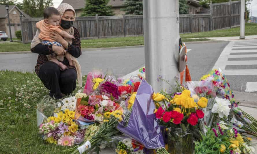 A memorial in London for the four members of the Afzaal family who died in Sunday's attack. The family's nine-year-old son Fayez is in hospital with serious injuries.