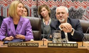 Federica Mogherini and Mohammad Javad Zarif.