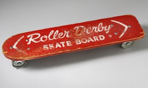 Roll with it … an early skateboard.