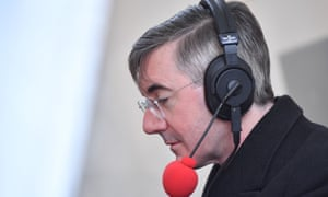 Jacob Rees-Mogg being interviewed in a media tent outside the Houses of Parliament.