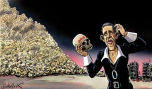 Peter Schrank Obama as Hamlet - published Independent on Sunday, 16 June 2013 Peter Schrank shows President Barack Obama as Hamlet. Holding the skull of Syria, and scratching his head in puzzlement, he is unsure what do to. Obama was reluctant to directly involve the United States in the Syrian conflict. In June 2013 he was finally persuaded to give military aid to the rebels there