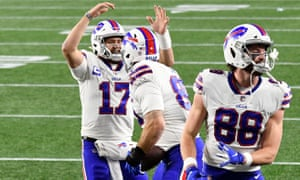 The Bills celebrate a touchdown during their comprehensive victory over the Patriots