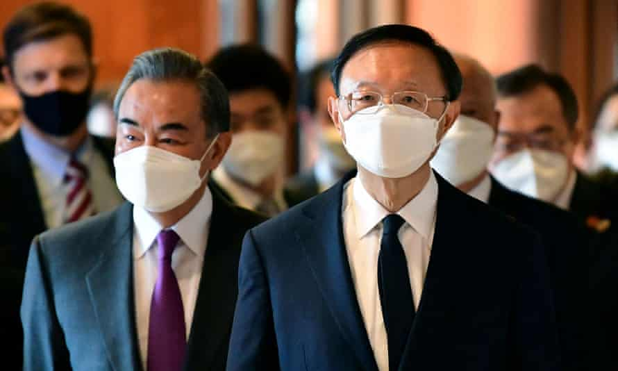 From left, China's foreign minister Wang Yi and Yang Jiechi, director of the Central Foreign Affairs Commission Office for China.
