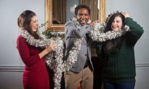 Poet Lemn Sissay with care leavers Chantelle Chamberlin (left) and Megan Macleod.