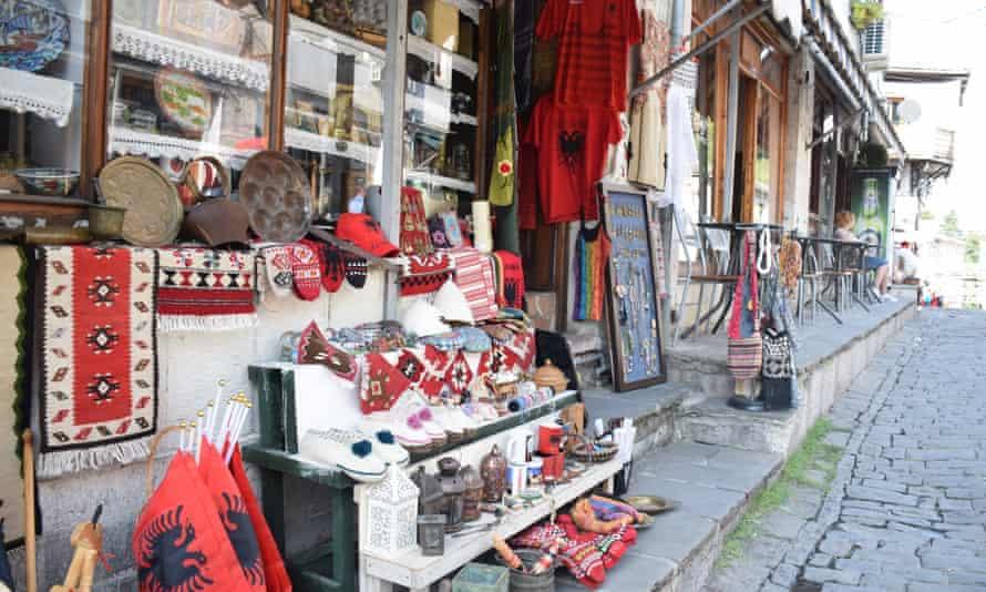 Shops in the historic bazaar in Gjirokastër