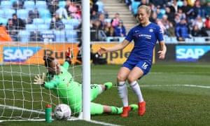 Chelsea's Ann-Katrin Berger is unable to stop an own goal by Magdalena Eriksson that gave Manchester City victory.