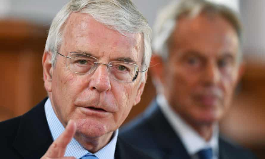 Former prime ministers Sir John Major (left) and Tony Blair