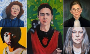 Portraits by Allison Adams. Clockwise from top left: Edith Piaf, Frida Kahlo, Ruth Ginsberg, Patti Smith and Nina Simone