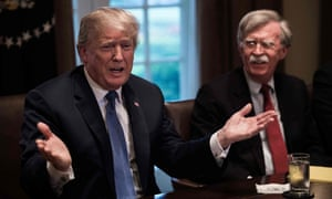 Donald Trump and John Bolton, the national security adviser, on 9 April.