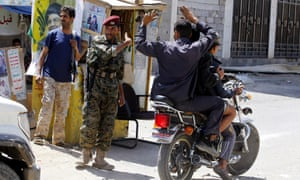 Houthi militiamen at a checkpoint in the old city of Sana'a, ahead of the ceasefire.