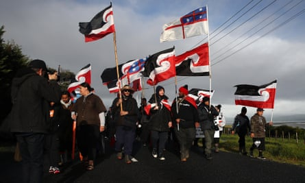 The hikoi, or protest march, leaves Ihumātao for the Auckland office of New Zealand prime minister Jacinda Ardern.