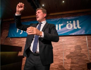 Bjarni Benediktsson of the conservative Independence party celebrates victory in the 2017 Icelandic elections.