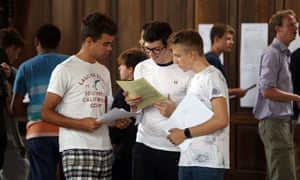 Boys receive their GCSE results at King's College School.
