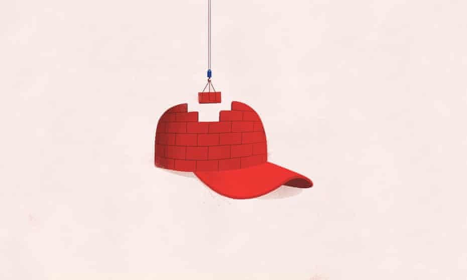 Review cover illustration of a MAGA hat for Dave Eggers' story