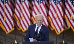 President Joe Biden delivers a speech in Pittsburgh.