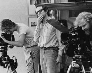 Film director Ken Loach on set in 1980